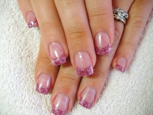 Pink-Acrylic-Nail-Designs-with-Glitter
